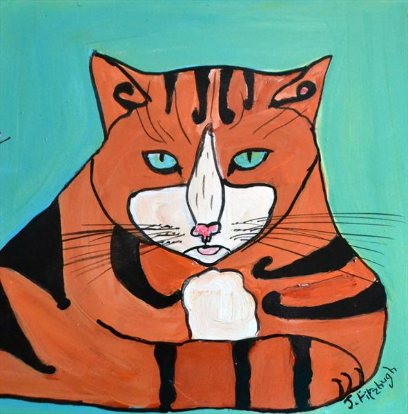 Tiger A Cat Deep In Thought by Jean Fitzhugh