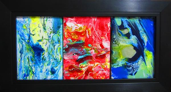 Chromatic Fusion Triptych No. Two by Shyamal K Sarkar