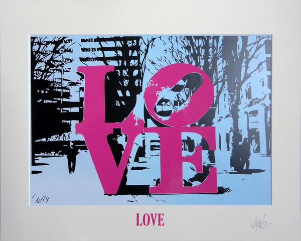 'LOVE' - Pink on Blue by Sue Rowe