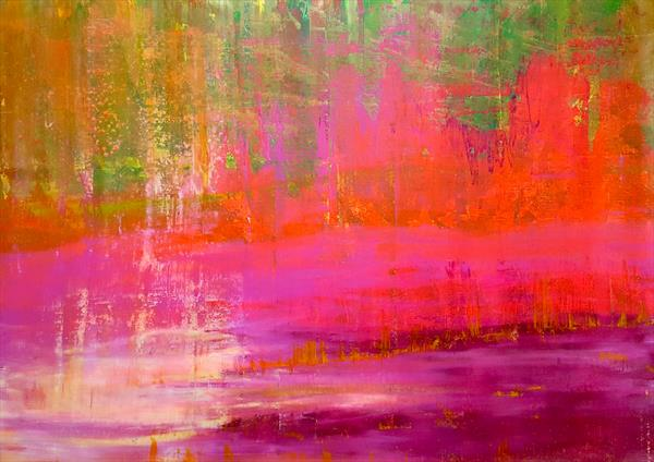 A field of Rose hips - XXL colorful abstract painting by Ivana Olbricht