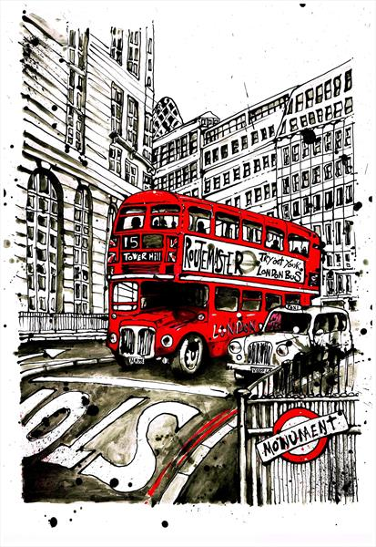 Monument London (print) by Keith Mcbride