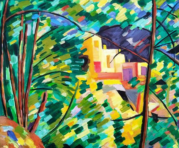 Acrylic Landscape after Cezanne 's chateau Noir  by Maureen Lacey