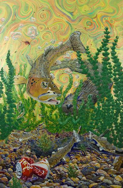 'trout Fishing' (Otter and Brown Trout)