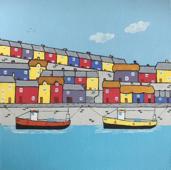 Sunny day in Cornish harbour town by Keith Owen