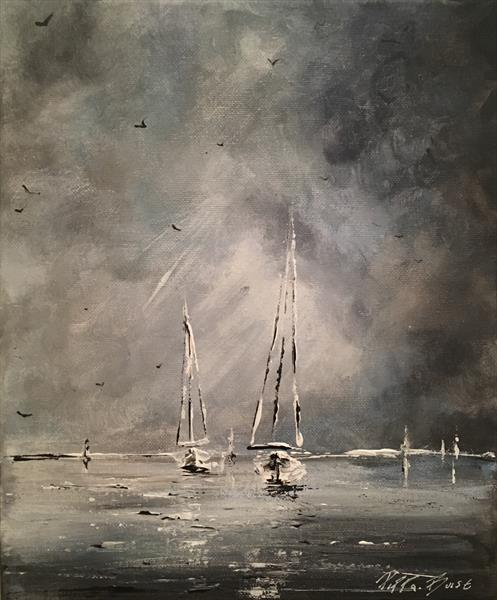 Little sail against stormy  skies  by Pippa Buist