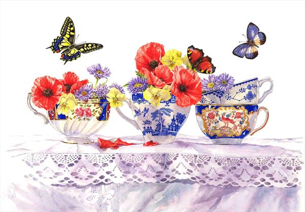 Poppies and Tea Cups by Zoe Elizabeth Norman