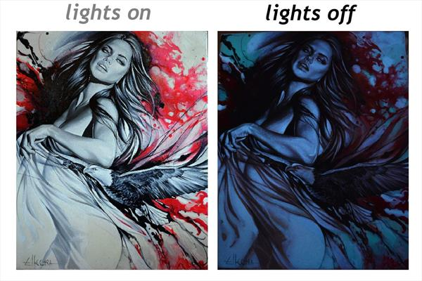 GLOW IN THE DARK PAINTING by Ellectra - Freedom by Donka Nucheva Ellectra