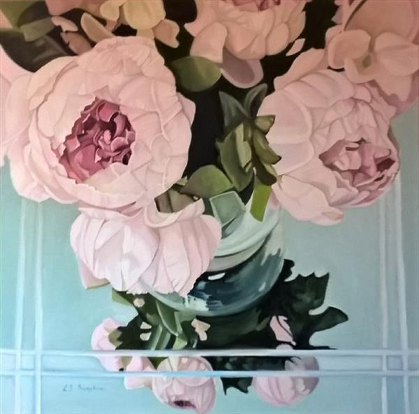 Peonies in October by Louisa  J Simpson