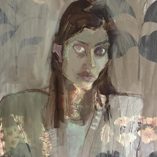 Hydrangea girl, grey by Liane Stevenson