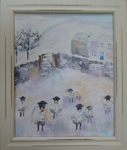 Sheep In Snow by Elaine Allender