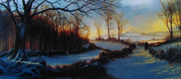 A Pair of Panoramic Winter Landscape Prints by Alan Kingwell