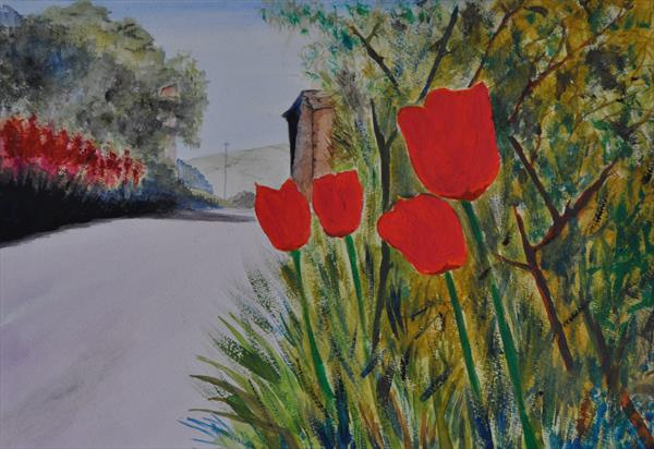 Flowers at the road side by Steve Gent
