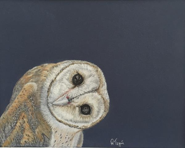 Inquisitive Owl - Giclee Print by Rachel Tappin