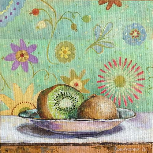 Kiwi Fruit with a floral background - Still life by Luci Power