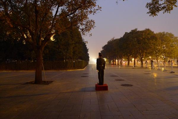 On Duty, Tiananmen Square At Sunset by John Brooks