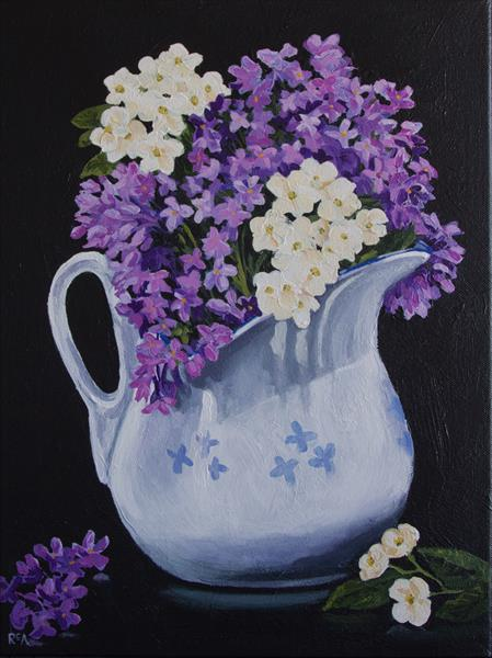 Lilac Flowers in Jug by Ruth Archer