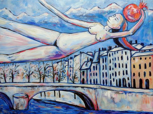 GIRL FLYING WITH MAGIC POMEGRANATE OVER THE BRIDGE, RIVER AND HOUSES by Elisaveta Sivas
