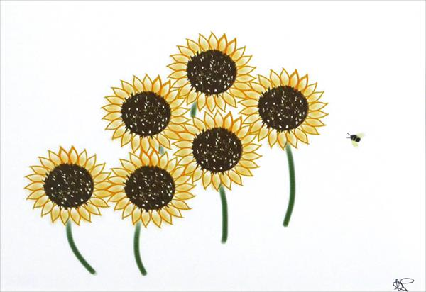 Sunflowers and friend by Ann Mcphillips