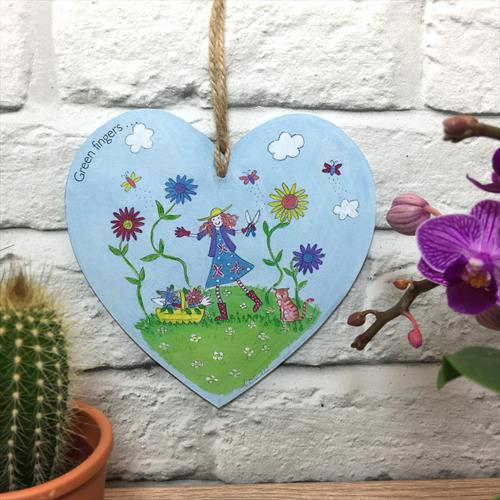 Green Fingers glossy vinyl print heart shaped plaque  by Lisa-Marie Davies