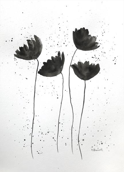 Black and white flowers nr 3 by Monika Howarth