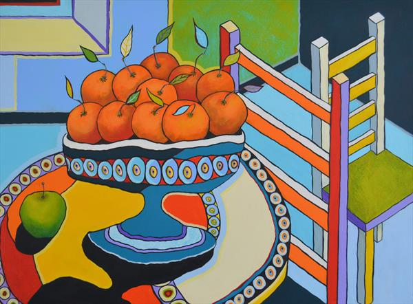 Still Life with Oranges and Chairs by Tracy - Ann Marrison