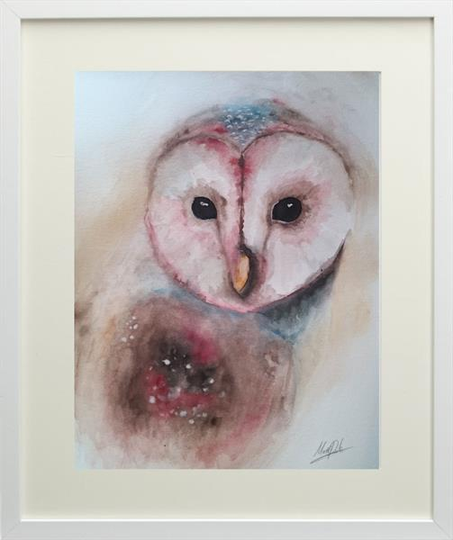 Barn owl watercolour painting framed by Matt Dale