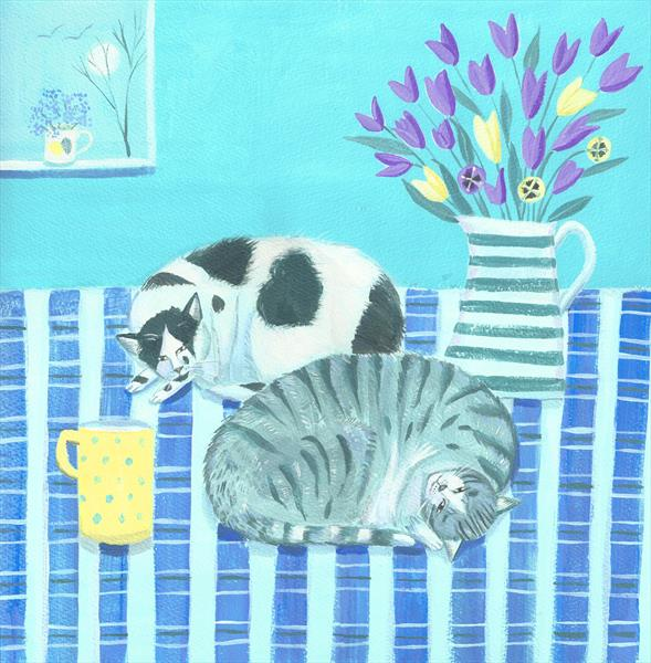 Cats on Blue by Mary Stubberfield