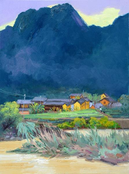 Original landscape oil painting on canvas:Chinese rural village  by James  Saenz
