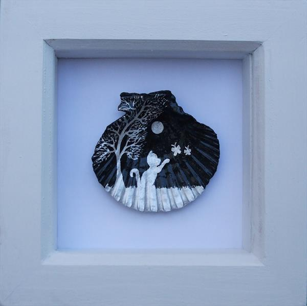 Cat and Butterflies: Painted Shell by Claudine Peronne