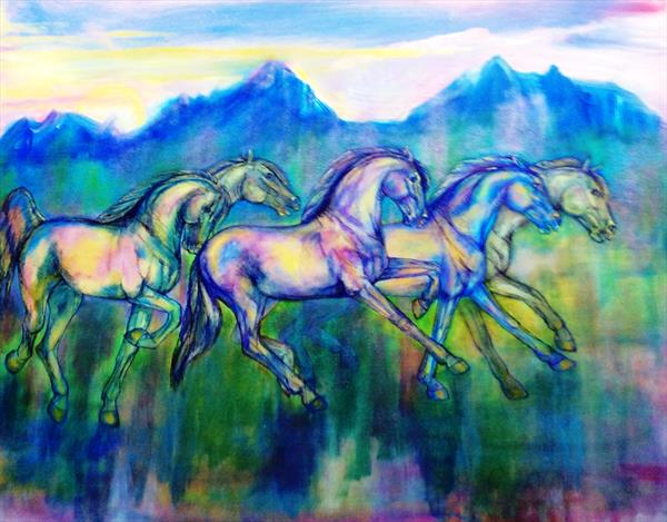 Galloping horses in the Rocky Mountains by Helena Manchip