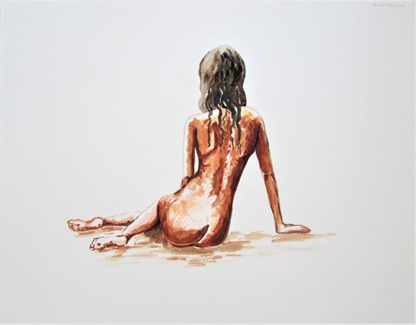Nude Girl sitting. Nude Back by Marjan's Art