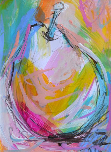 Colourful Pear II - Original Painting by Tracy - Ann Marrison