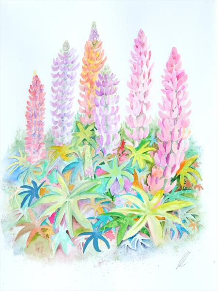 Cottage Garden Lupins (2) by Elizabeth Sadler