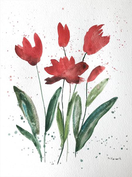 Red flowers illustration  by Monika Howarth