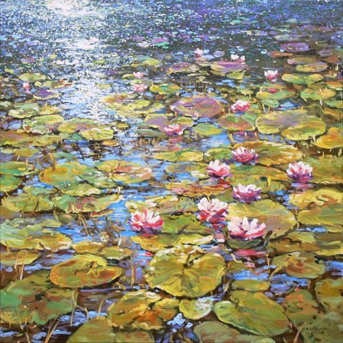 Waterlilies - Nymphaea (On Display At the Art Gallery, Tetbury) by Mariusz Kaldowski