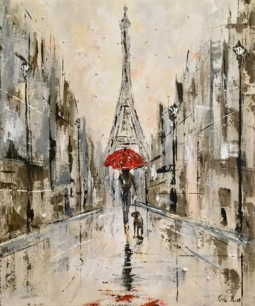 Red umbrella at the Eiffel Tower  by Pippa Buist