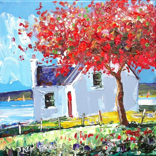 Cottage on Isle of Mull, with red cherry tree by jack fraser