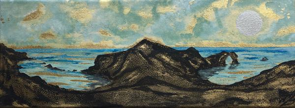 Durdle door and Man of war bay on gold leaf