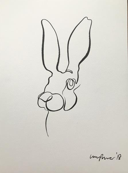 Minimal Hare #02 - single line drawing in ink by Luci Power