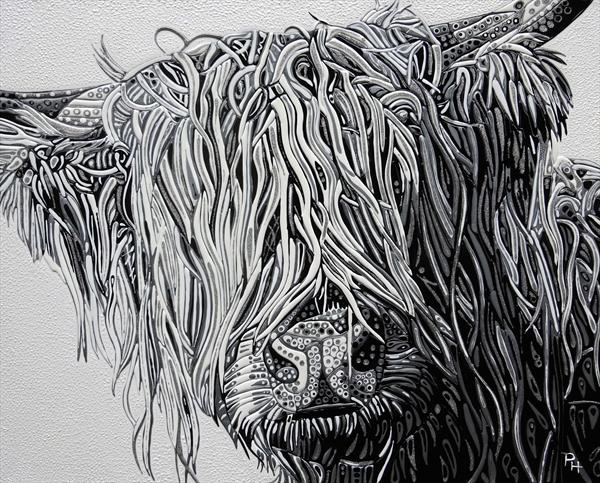 Abstract Highland Cow 3 (Sculptural) by Paula Horsley