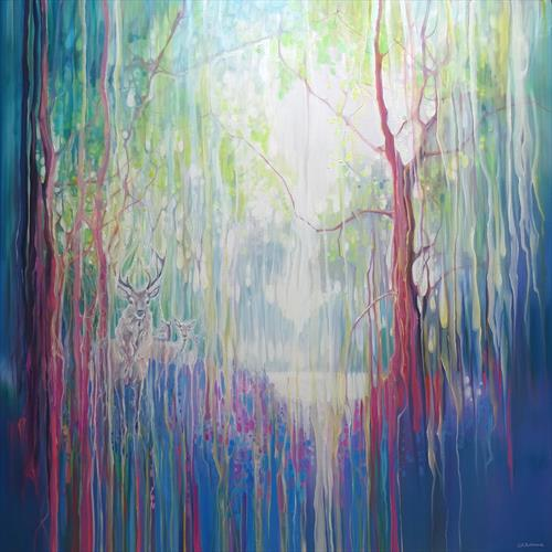 Between Worlds is a large oil painting of a stag and three deer in a Sussex bluebell wood by Gill Bustamante