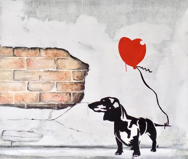 Daxie Valentine: Banksy style dachshund painting by Victoria Coleman