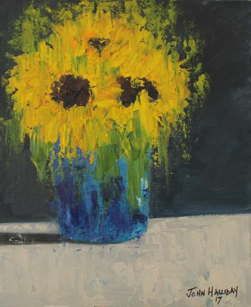 Sunflowers in blue vase by John Halliday