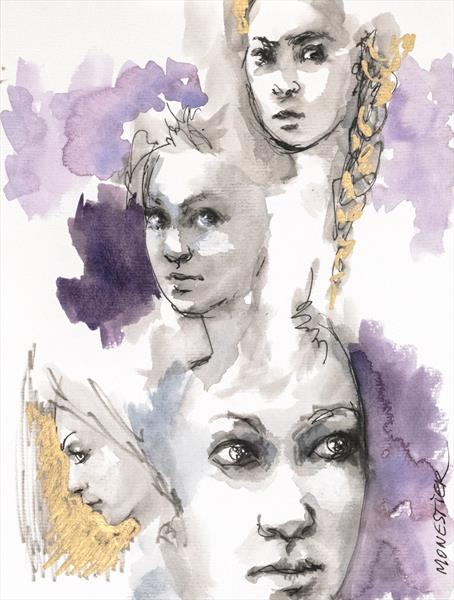 Purple girls by Fabienne Monestier