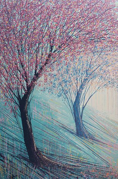 Cherry Blossom Trees In Bright light