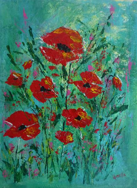 Floral Poppy 2 by Amelle Eley