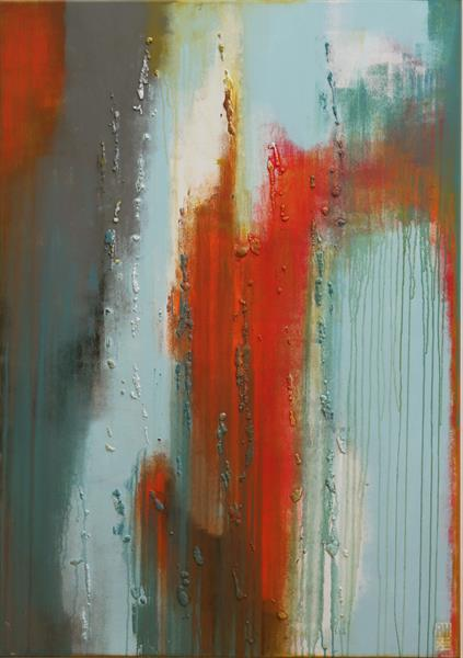 Abstract Painting - Swirl Oranje & Blue - A18 by Ronald Hunter