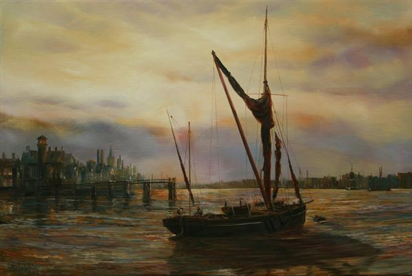 EVENING ON THE RIVER by PETER GOODHALL
