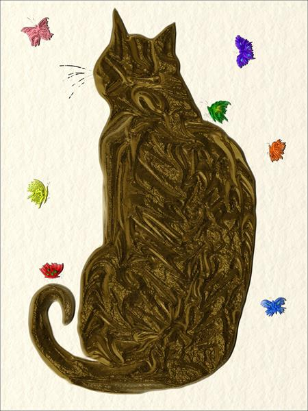 Cat and Butterflies by Ann Mcphillips