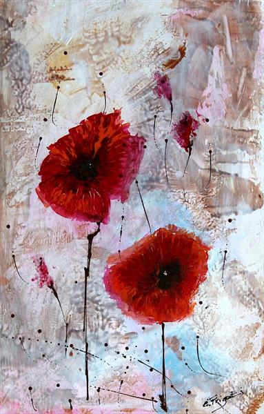 Just The Two Of Us... #3 - Original floral painting on board by Cecilia Frigati